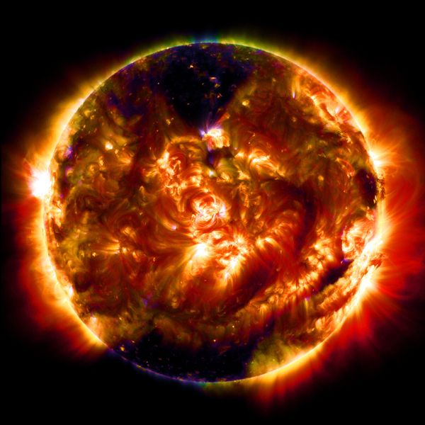 "This ""mosaic"" image, also captured on Jan. 19, 2015, shows the sun in multiple wavelengths."