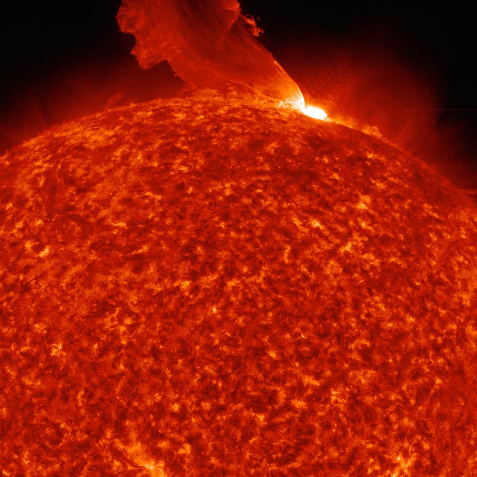 This image was captured on Feb. 24, 2011. It shows a plume of plasma erupting from the sun's surface.
