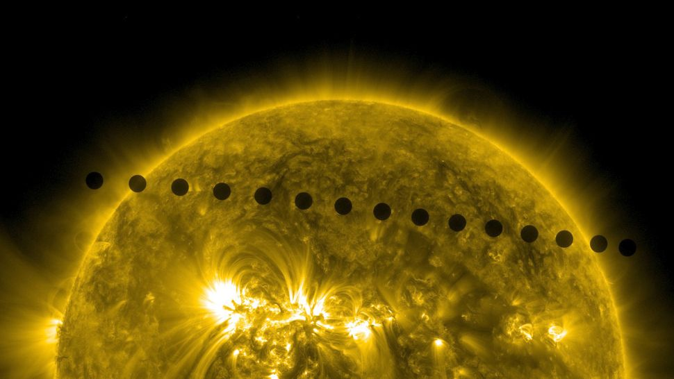 This composite photo shows a rare transit of Venus as seen by SDO on June 5-6, 2012. The next Venus transit will occur on Dec