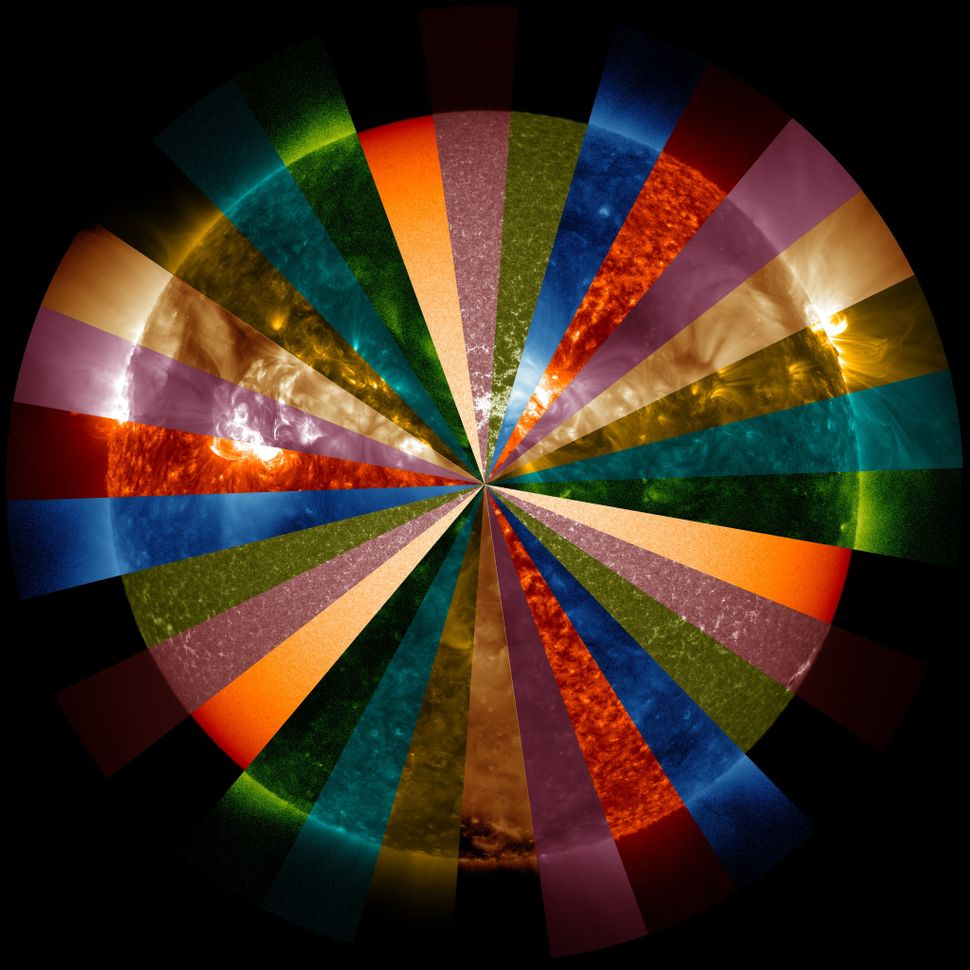 In this color wheel image, each color represents a different wavelength of extreme ultraviolet light present in the sun's cor
