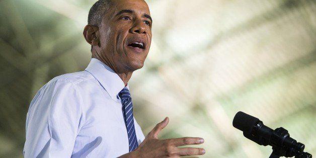 US President Barack Obama speaks about the economy at Boise State University in Boise, Idaho, January 21, 2015. Obama is trav