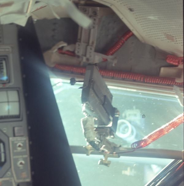 """This photo was taken during the initial lunar module inspection during the trip out from Earth. The <a href=""""http://www.hq.na"""