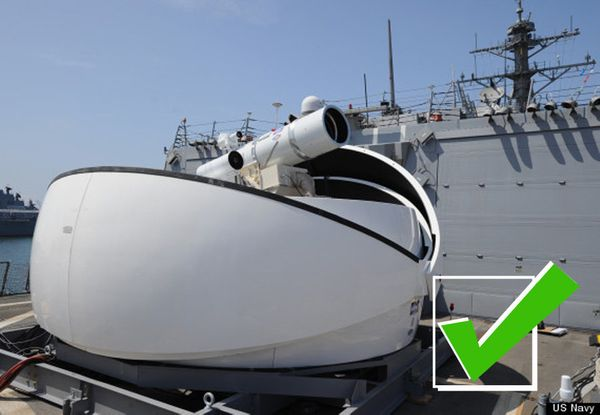"The <a href=""http://www.huffingtonpost.co.uk/2014/11/24/us-navy-anti-drone-laser_n_6210614.html"" target=""_blank"">laser cannon"