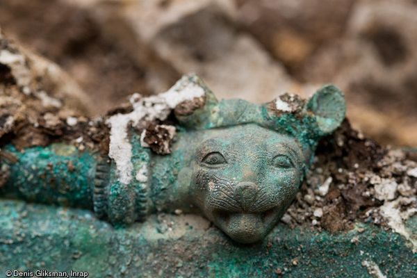 A feline head adorns the tomb that dates back to the early 5th Century B.C.