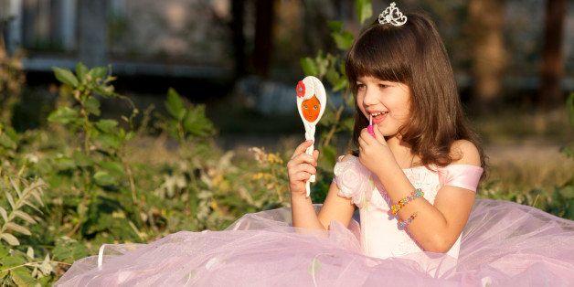 cute small princess enjoys herself