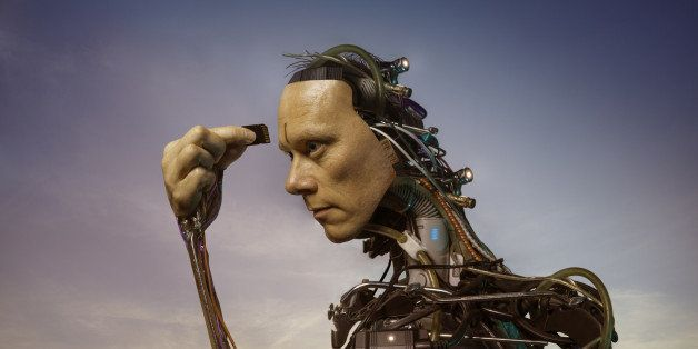The head and shoulders of an android robot or cyborg inserting a memory card into his forehead.