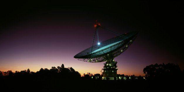 Parkes Radio-Telescope at night CSIRO facility, near Parkes Parkes, New South Wales, Australia. (Photo by Auscape/UIG via Get