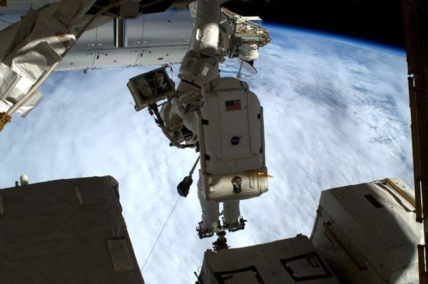 Working at sunrise- laying more cables! #spacewalk