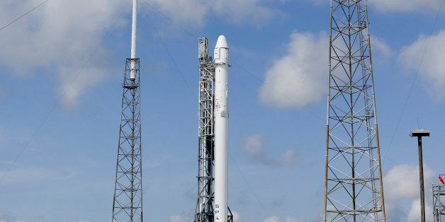 The Falcon 9 SpaceX rocket stands ready for launch at Complex 40 at the Cape Canaveral Air Force Station in Cape Canaveral, F