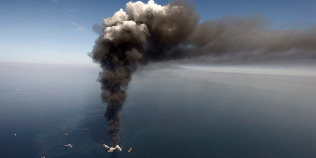 FILE -  In this Wednesday, April 21, 2010 file photo, oil can be seen in the Gulf of Mexico, more than 50 miles southeast of