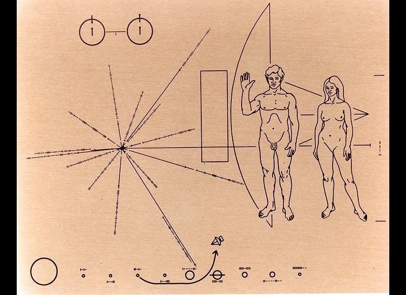 This is the Pioneer Plaque, one of two cosmic dog-tags attached to the Pioneer 10 and 11 spacecraft, the first human-made mat