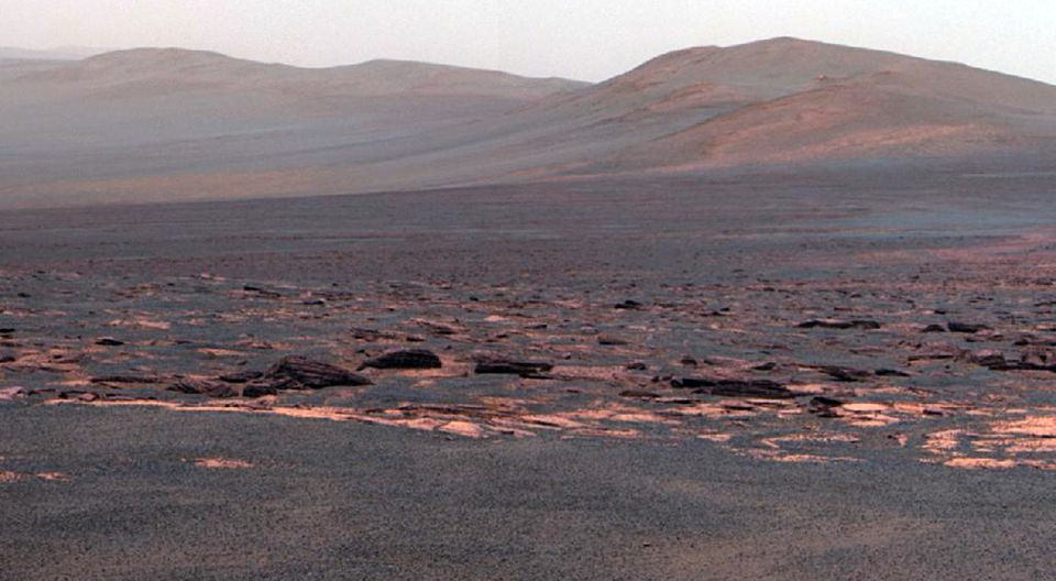 This Aug. 9, 2011 image provided by NASA shows a view from the Mars Rover Opportunity from the Western rim of the Endeavour C
