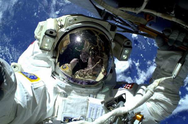 My #spacewalk lead #AstroButch, with me upside down in his visor.