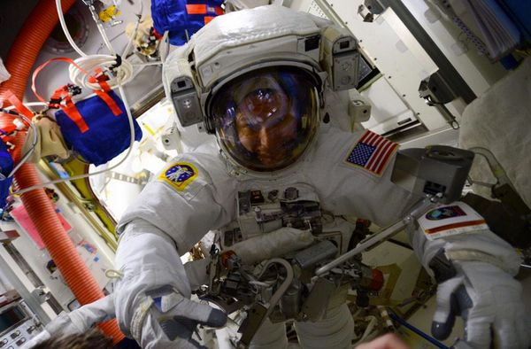 The smile before my first #spacewalk barely fit in the camera frame. #USEVA29