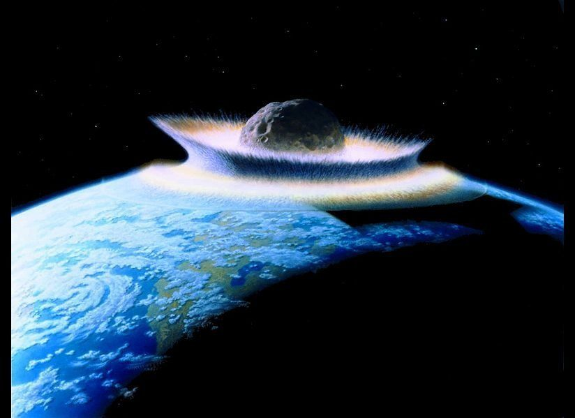 Artist's impression of a planetoid 1000 km wide (about the distance from New York to Chicago) hitting a young Earth. Donald D