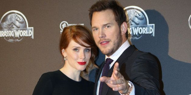 U.S. actors Bryce Dallas Howard, left, and Chris Pratt pose for photograpers as they arrive at the French premiere of U.S. mo