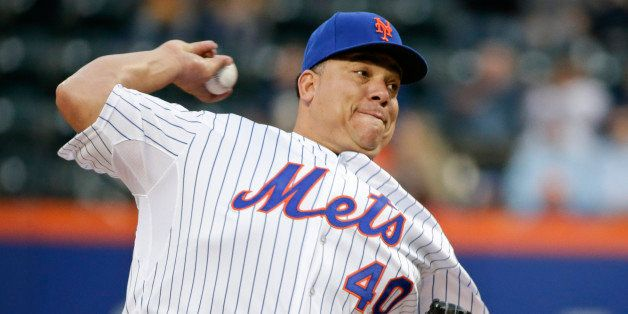 FILE - In this May 15, 2015, file photo, New York Mets' Bartolo Colon delivers a pitch during the first inning of a baseball