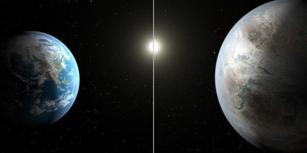 This artist's rendering made available by NASA on Thursday, July 23, 2015 shows a comparison between the Earth, left, and the