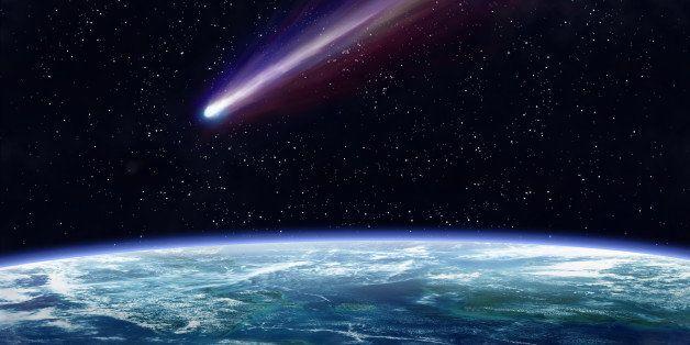 illustration of a comet flying...