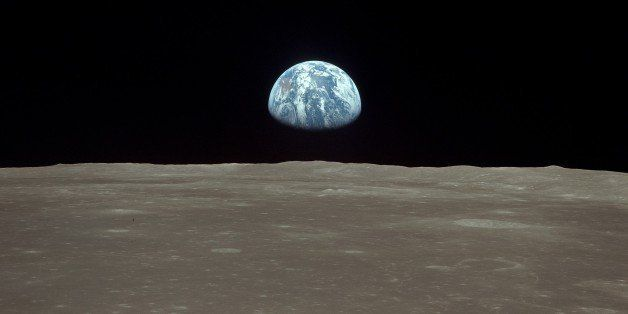(GERMANY OUT) Spaceflight United States of America, Moon landing of Apollo 11 in 1969: View from lunar module 'Eagle': earthr