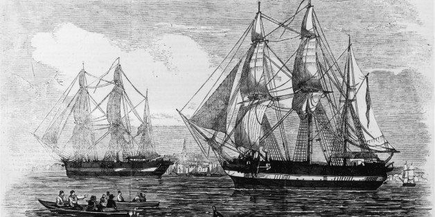 1845:  The ships HMS Erebus and HMS Terror used in Sir John Franklin's ill-fated attempt to discover the Northwest passage. O
