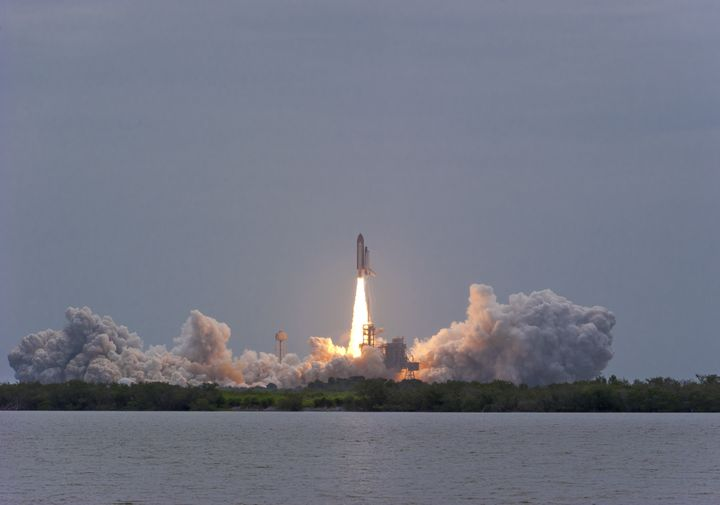 space shuttle atlantis clears...