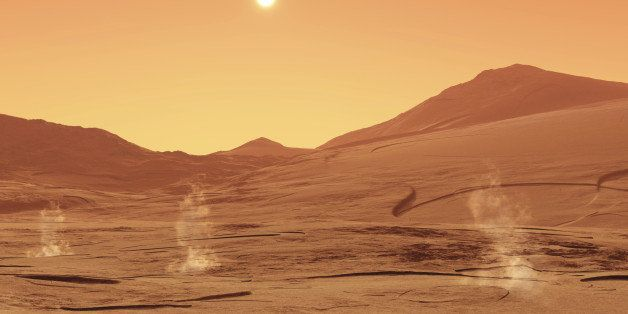 This image shows a summerday from mars with little dust devils