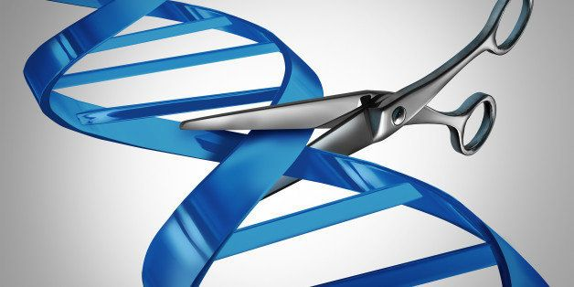Gene editing health care concept as molecular scissors cutting a dna strand as a medical science and biology technology symbo
