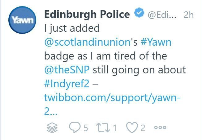 Edinburgh Police Twitter Blunder 'Mistakenly' Expresses Support For Anti-SNP