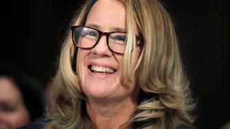 WASHINGTON, DC - SEPTEMBER 27: Professor Christine Blasey Ford, who has accused U.S. Supreme Court nominee Brett Kavanaugh of a sexual assault in 1982, testifies before a Senate Judiciary Committee confirmation hearing for Kavanaugh on Capitol Hill September 27, 2018 in Washington, DC. A professor at Palo Alto University and a research psychologist at the Stanford University School of Medicine, Ford has accused Supreme Court nominee Judge Brett Kavanaugh of sexually assaulting her during a party in 1982 when they were high school students in suburban Maryland. (Photo by Jim Bourg-Pool/Getty Images)