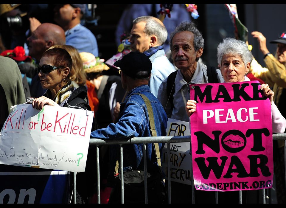 Peace group protestors and members of Occupy Wall Street stage a demonstration to mark the 10th anniversary of the war in Afg