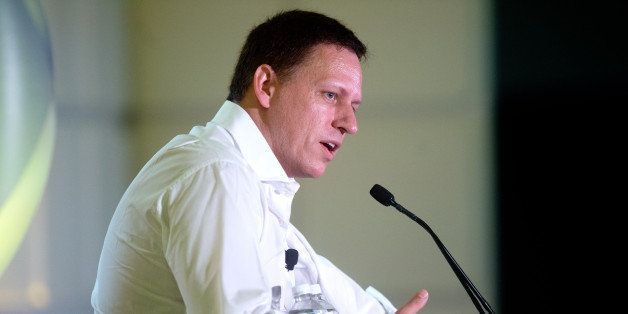 Peter Thiel, head of Clarium Capital Management LLC and founding investor in PayPal Inc. and Facebook Inc., speaks during the