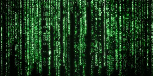 Matrix background with the green symbols