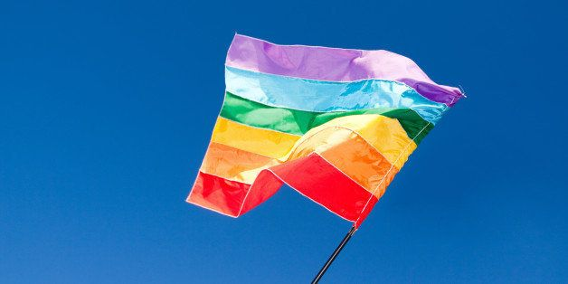 The rainbow flag being waved at the Gay Parade in Florainopolis.