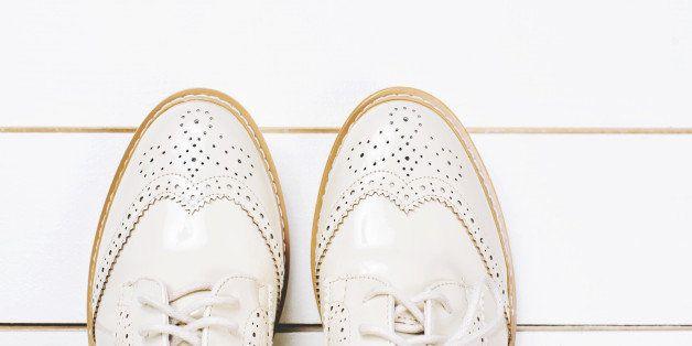Close up of stylish female shoes