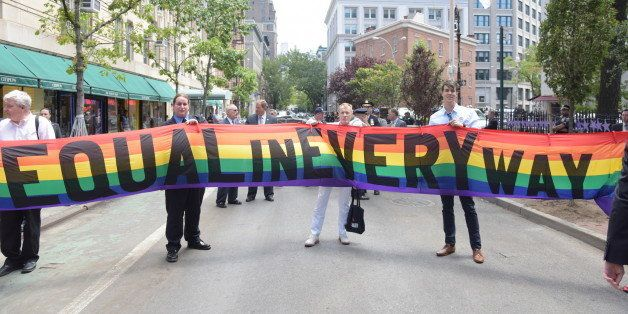 MANHATTAN, NEW YORK CITY, NEW YORK, UNITED STATES - 2016/06/27: 'Equal In Every Way' banner on Christopher Street. Mayor Bill
