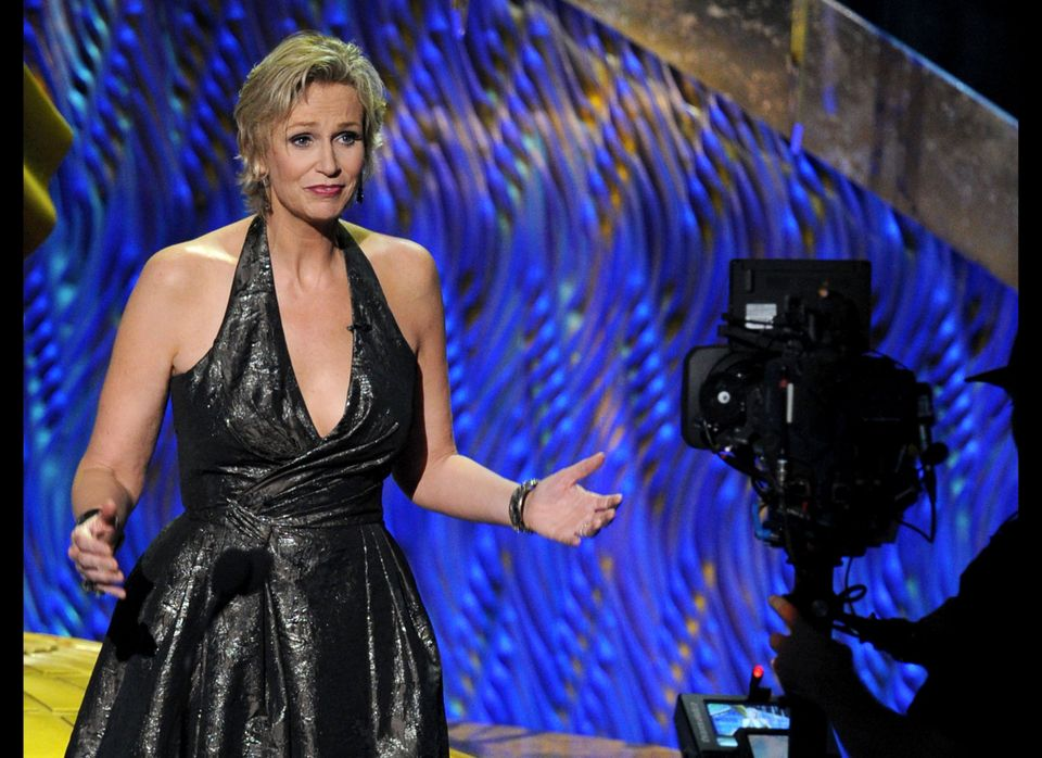 "The ""Glee"" actress balanced good humor with good taste as host of the 2011 Emmy Awards, delivering some zingers at Betty Whit"