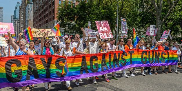 GAY PRIDE PARADE, NEW YORK, UNITED STATES - 2016/06/26: Gays Against Guns (GAG) - Thousands of people came out and commemorat
