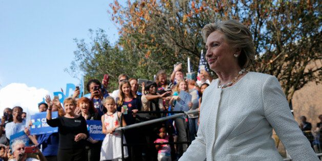 """Democratic U.S. presidential nominee Hillary Clinton  arrives at an """"early voting"""" campaign rally at Pasco-Hernando State Col"""