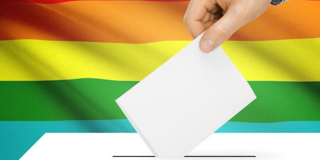 Ballot box with national flag on background series - LGBT flag
