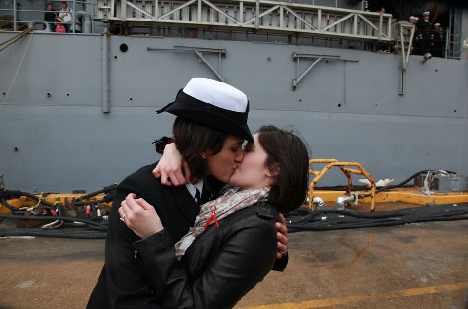 "Dubbed <a href=""http://latimesblogs.latimes.com/nationnow/2011/12/a-public-embrace-between-two-female-sailors-from-california"