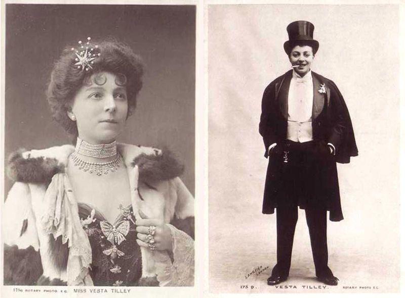 "<a href=""http://www.the-camerino-players.com/britishtheatre/VestaTilley.html"">Vesta Tilley</a> was a pioneer who became Brita"