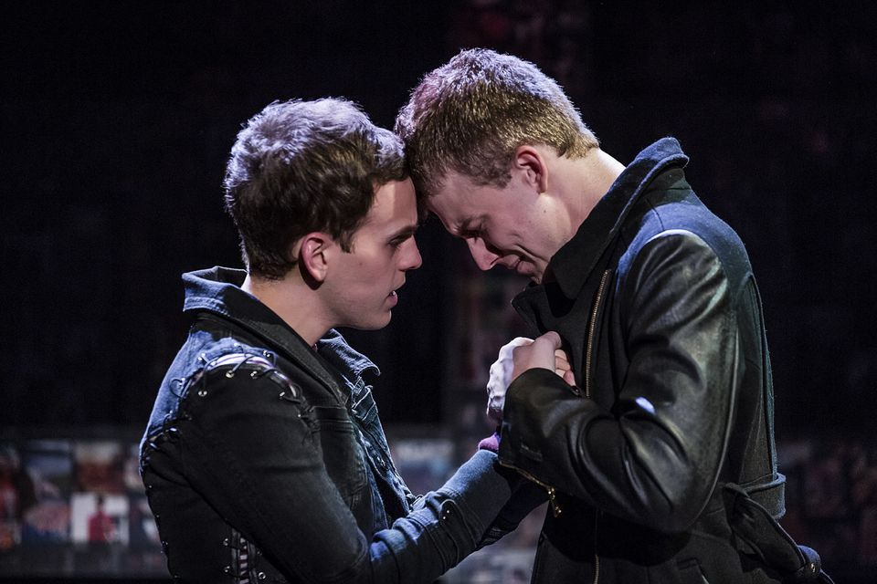 """Peter (Taylor Trensch) comforts a tormented Jason (Jason Hite) in """"Bare."""""""