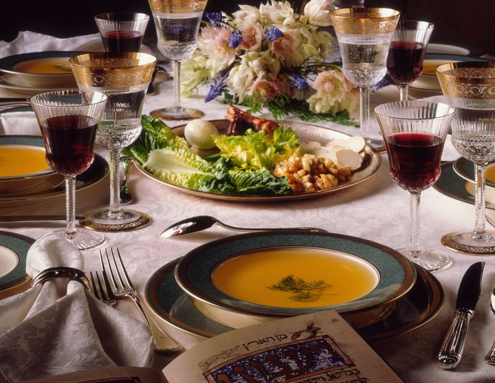 Seder holiday table setting