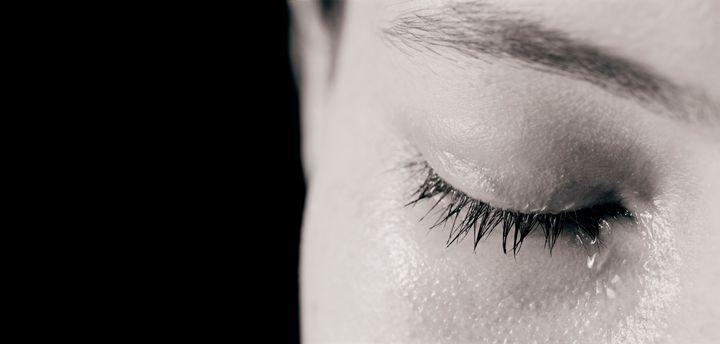 Closeup of woman crying