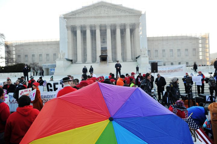 Supporters of same-sex marriage gather in front of the US Supreme Court on March 26, 2013 in Washington, DC. Same-sex marriag