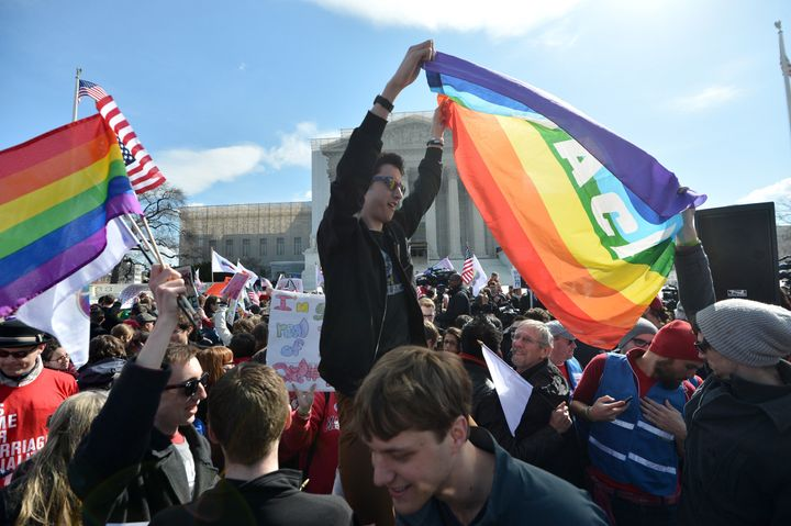 Same-sex marriage supporters demonstrate in front of the Supreme Court on March 27, 2013 in Washington, DC. The rights of mar