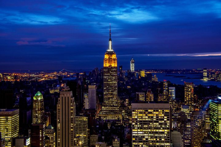 NEW YORK, NY - NOVEMBER 01:  The Midtown skyline remains lit as Lower Manhattan remains mostly without power on November 1, 2
