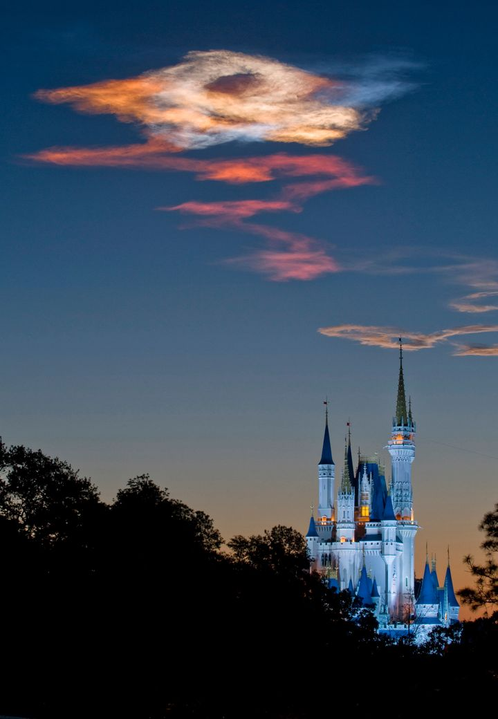 LAKE BUENA VISTA, FL - APRIL 05:  In this handout photo provided by Disney, the sunrise over Cinderella Castle in the Magic K