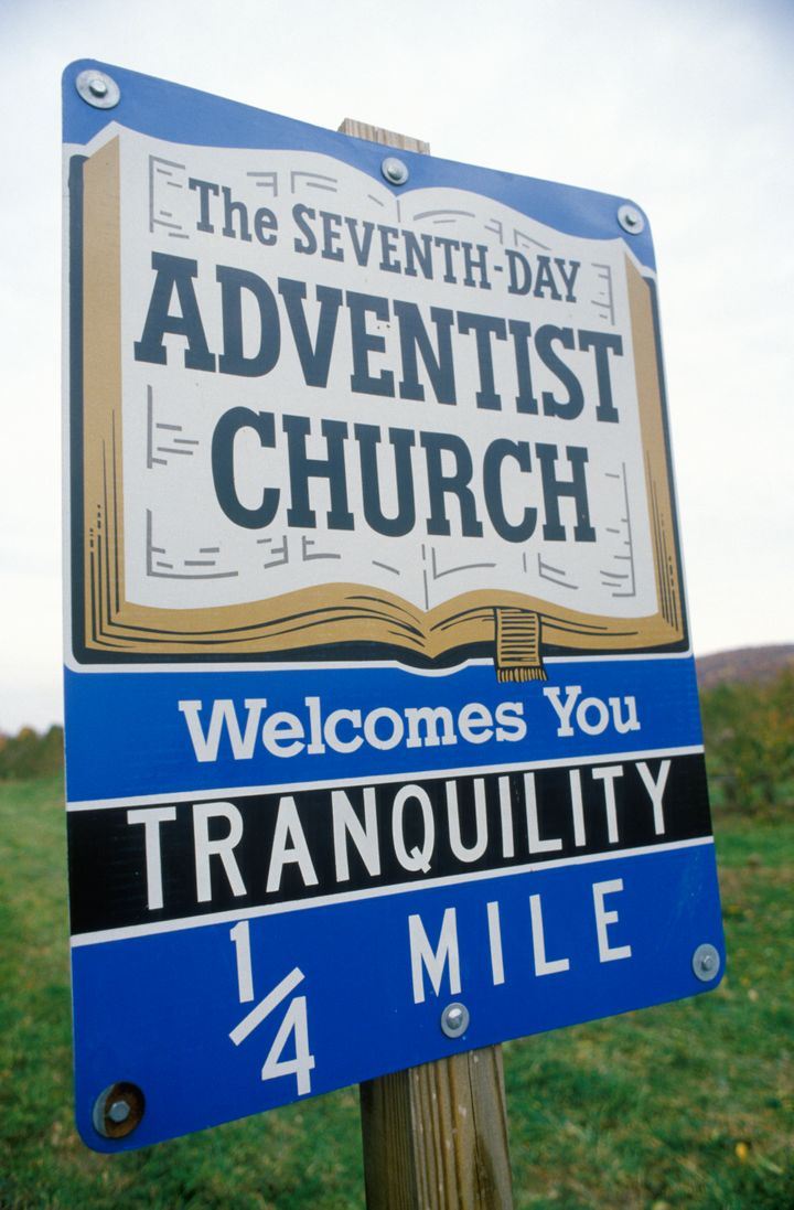Seventh-Day Adventist Church sign in New Jersey (Photo by Visions of America/UIG via Getty Images)